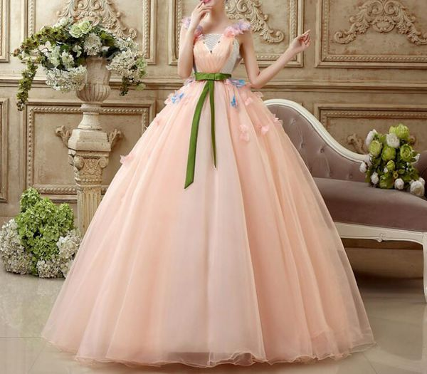 Peach pure Cinderella fairytale gown SAM113 – TheStyleVogue